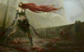 Обои девушка, корабль, палуба, мечи, воительница, трупы, рыжеволосая