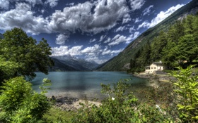 Картинка камни, HDR, облака, дом, озеро, кусты, берег