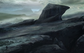 Обои скалы, человек, арт, пустошь, путник