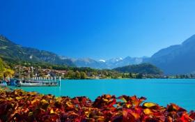 Обои горы, город, река, берег, Швейцария, причал, Brienz