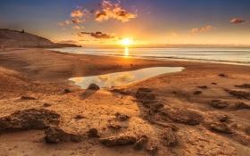 Обои пляж, расвет, Sunset, горизонт, океан