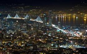 Картинка ночь, мост, город, огни, река