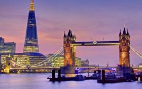 Картинка огни, Англия, Лондон, вечер, сумерки, Тауэрский мост