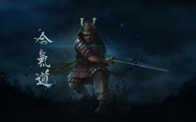 Обои трава, ночь, меч, воин, маска, арт, самурай
