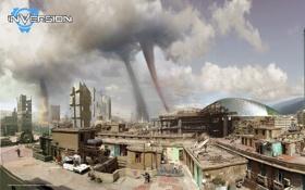 Картинка тучи, город, смерч, game, PS3, Xbox 360, Namco Bandai Games