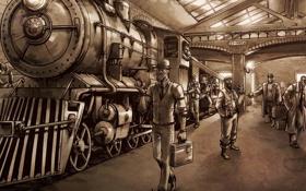 Обои перрон, вокзал, steampunk, люди, паровоз