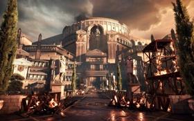 Обои Statues, Barricades, Microsoft Game Studios, Rome, Ryse: Son of Rome, Fire, City