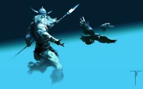 Обои фон, воин, вороны, викинг