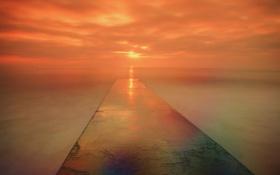 Обои море, солнце, облака, тучи, рассвет, пирс