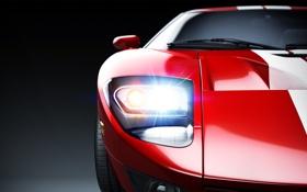 Обои Studio, свет, Ford GT, фара