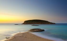 Картинка песок, пейзаж, пляж, берег, рассвет, океан, скалы