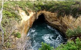 Картинка море, скала, ущелье, австралия, грот, australia, Лох-Ард