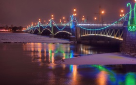 Обои зима, снег, ночь, мост, огни, река, фонари