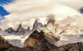Картинка облака, горы, пики, Аргентина, Анды, Южная Америка, Патагония