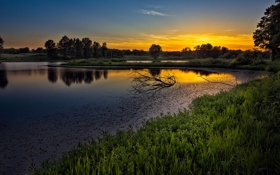 Обои закат, река, природа