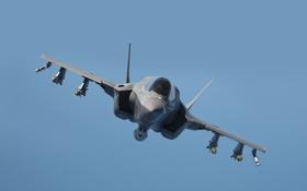 Картинка истребитель, полёт, бомбардировщик, F-35B, Lockheed Martin
