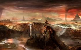 Картинка пейзаж, горы, скала, река, скалы, человек, водопад