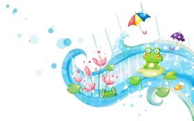 Обои фантазия, дождь, завитки, лягушки, зонтики, лотосы, детские обои