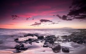 Картинка пляж, пейзаж, камни, океан, рассвет, горизонт, Гаваи