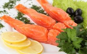 Картинка зелень, лимон, рыба, красная, ломтики, маслины