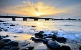 Картинка пейзаж, река, мост, камни
