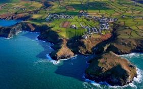 Картинка море, поля, Англия, дома, Корнуолл, Тинтеджел
