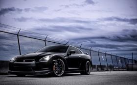Картинка небо, тучи, Nissan, GT-R, black
