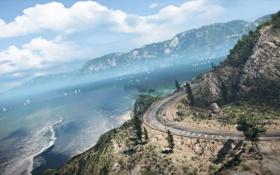 Обои небо, деревья, океан, трасса, кусты, Need for Speed Hot Pursuit