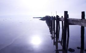 Картинка пейзаж, мост, озеро, утро