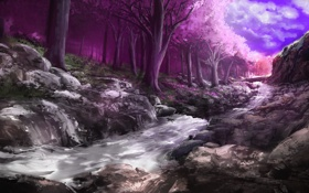 Обои камни, ручей, цветение, лес, розовое, сакура, деревья