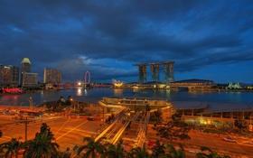 Картинка небо, ночь, огни, Азия, Сингапур, отель