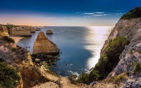 Обои algarve, portugal, beach, coast, night, atlantic ocean, sky