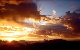 Картинка небо, солнце, лучи, пейзаж, закат, Природа, облока