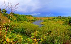 Картинка река, трава, небо, электрогенератор, кусты, деревья, природа