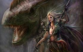 Картинка взгляд, девушка, оружие, фантастика, монстр, арт, пасть