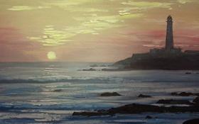 Обои пляж, краски., Картина, искусство, маяк, масло, море