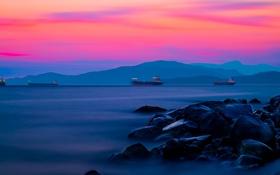 Обои море, горы, корабль, hdr, зарево
