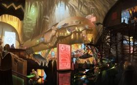 Обои город, люди, пещера, лестницы, арт, фантастика, рынок