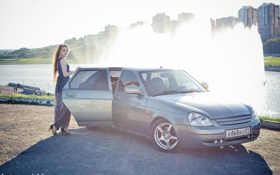 Обои машина, авто, девушка, фонтан, auto, LADA, Priora