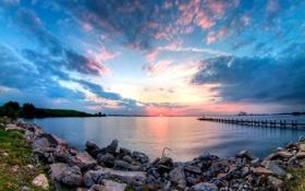 Картинка море, вода, пейзаж, закат, природа, берег, причал