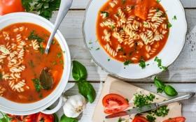 Обои нож, помидоры, чеснок, макароны, томатный суп, базилик