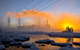 Картинка зима, пейзаж, закат, город