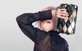Картинка девушка, модель, одежда, волосы, Молния, сумочка, мода
