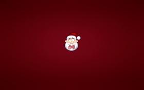Обои красный, шапка, новый год, минимализм, голова, борода, санта клаус