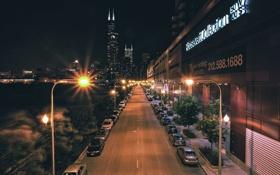 Картинка дорога, ночь, огни, небоскребы, фонари, USA, чикаго