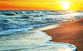 Обои закат, песок, океан