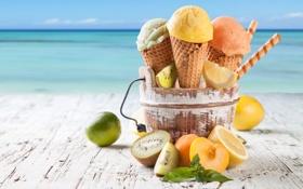 Обои лимон, киви, мороженое, лайм, абрикос