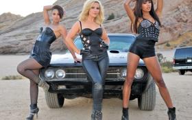 Картинка авто, девушки, пустыня, жара, мото, поломка, dodge