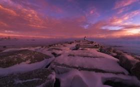 Обои lighthouse, ice, coast, winter, rock, fog, sunset