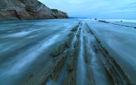 Обои море, небо, облака, камни, скалы, отлив